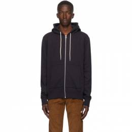 Naked And Famous Denim Navy Heavyweight Terry Zip Hoodie 130445584