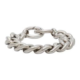 Mm6 Maison Margiela Silver Chunky Curb Chain Bracelet S52UY0053 S12717