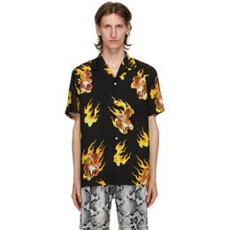 Wacko Maria Black Tim Lehi Hawaiian Short Sleeve Shirt TIMLEHI-WM-HI14