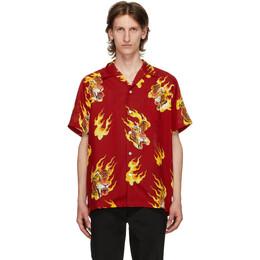 Wacko Maria Red Tim Lehi Hawaiian Short Sleeve Shirt TIMLEHI-WM-HI14