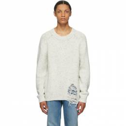 Maison Margiela White Wool Distressed Gauge 3 Sweater S50GP0176 S16788