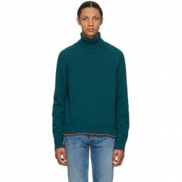 Maison Margiela Green Cashmere Elbow Patch Turtleneck S50HA0957 S17365