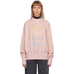 We11Done Pink Iridescent Logo Sweatshirt WD-TS8-20-098-U-PK