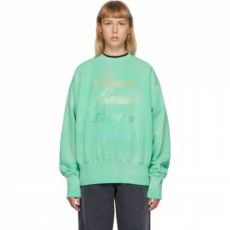 We11Done Green Iridescent Logo Sweatshirt WD-TS8-20-098-U-GR
