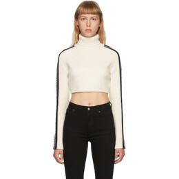 We11Done White and Black Wool Crop Logo Stripe Turtleneck WD-KO8-20-040-W-BG