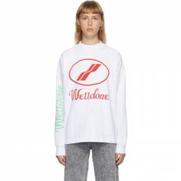 We11Done White Logo Long Sleeve T-Shirt WD-TP4-20-712-U-WH