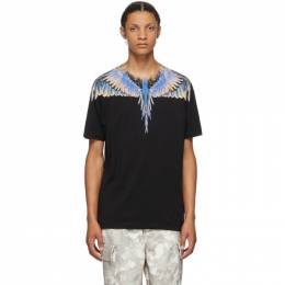 Marcelo Burlon County Of Milan Black and Multicolor Wings T-Shirt CMAA018E20JER0011030