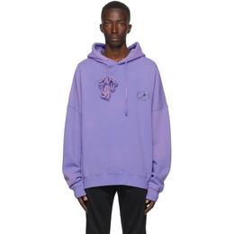 We11Done Purple Iridescent Logo Hoodie WD-TH8-20-097-U-PP