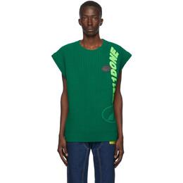 We11Done Green Wool Multi-Logo Vest WD-KV8-20-544-U-GR
