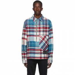 We11Done Blue Wool Check Half-Zip Anorak Shirt WD-BL3-20-910-U-BL