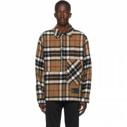 We11Done Brown Wool Check Half-Zip Anorak Shirt WD-BL3-20-910-U-CM