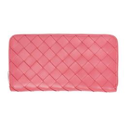 Bottega Veneta Pink Intrecciato Zip-Around Wallet 608051 VCPP2