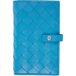 Bottega Veneta Blue Intrecciato Medium French Wallet 609070 VCPP3