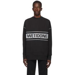 We11Done Black Reflective Logo Sweatshirt WD-SS5-19-048-BK