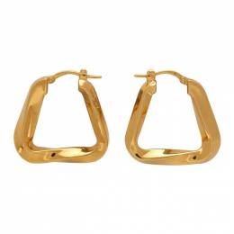 Bottega Veneta Gold Twisted Triangle Hoop Earrings 608588 VAHU0