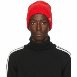 We11Done Red Logo Beanie WD-KH8-20-134-U-RD