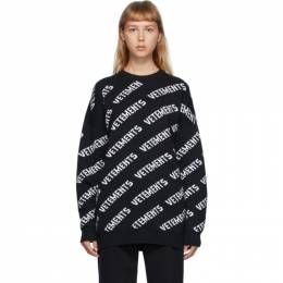 Vetements Black Allover Logo Crewneck Sweater UAH21KN047