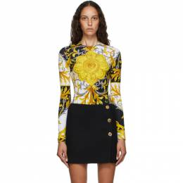 Versace Brown and Yellow Barocco Bodysuit A87435_A235798_A7027