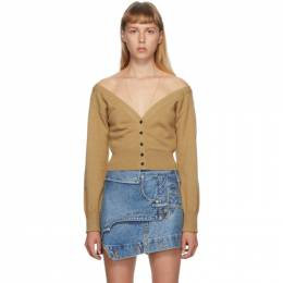 Alexander Wang Beige Fitted Cropped Cardigan 1KC2191128