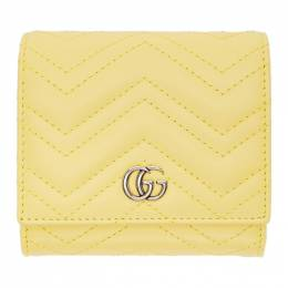 Gucci Yellow Medium GG Marmont Wallet 598629 DTD1P
