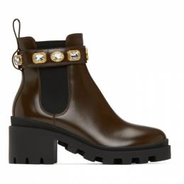 Gucci Brown Belted Chelsea Boots 550036 DKS00