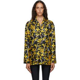 Versace Underwear Black and Gold Silk Barocco Shirt AUD05056_A235775_A700