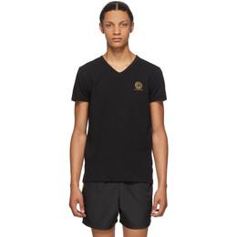 Versace Underwear Black Medusa V-Neck T-Shirt AUU01004 A232741