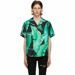 Amiri Green and Black Silk Banana Leaves Pyjama Short Sleeve Shirt F0M06181SE