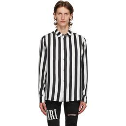 Amiri Black and White Silk Logo Shirt F0M06186SE