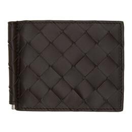 Bottega Veneta Brown Intrecciato Money Clip Bifold Wallet 592626 VCPQ4