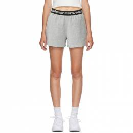 T By Alexander Wang Grey Corduroy Logo Shorts 4CC1204025