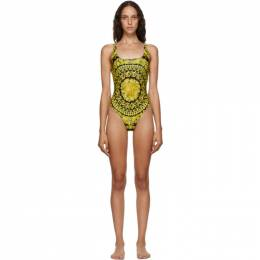 Versace Underwear Black and Yellow Barocco One-Piece Swimsuit ABD08000_A232992_A790