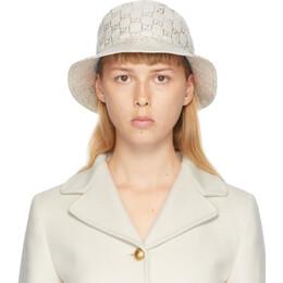 Gucci White Lame GG Bucket Hat 631951 3HK74