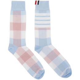 Thom Browne Blue and Pink 4-Bar Check Mid-Calf Socks MAS091A-01690