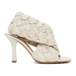 Bottega Veneta Off-White Intrecciato Board Heeled Sandals 632507 VBT10