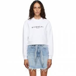 Givenchy White Paris Logo Cropped Sweatshirt BWJ01A3Z0Y
