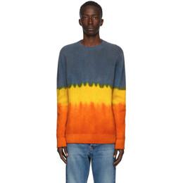 The Elder Statesman Multicolor Gradient Simple Crewneck Sweater 190445