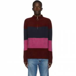 The Elder Statesman SSENSE Exclusive Burgundy and Multicolor Three Block Half-Zip Sweater 200066