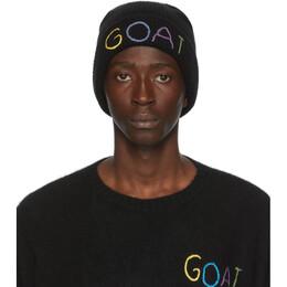 The Elder Statesman SSENSE Exclusive Black Goat Watchman Beanie 200074