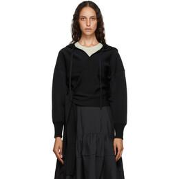 3.1 Phillip Lim Black Wool Wrap Hoodie P202-7437ODF