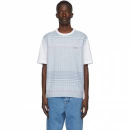 Lanvin White and Blue Checkered T-Shirt RM-JE0007-4566-A20