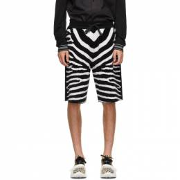 Burberry Black and White Wool Janson Shorts 8029411