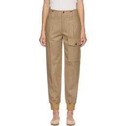 Chloe Beige Wool Straight Cargo Trousers CHC20APA51161