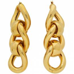 Bottega Veneta Gold Triple Link Earrings 628643 VAHU0