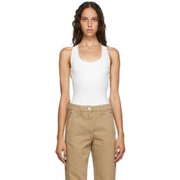 Lemaire Off-White Velvet Jersey Sleeveless Bodysuit W 202 JE295 LJ051