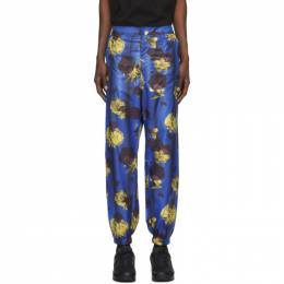 Opening Ceremony Blue Satin Floral Trousers YMCA002F20FAB0024816