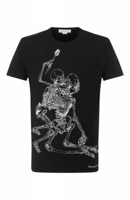 Хлопковая футболка Alexander McQueen 624170/QPZ60