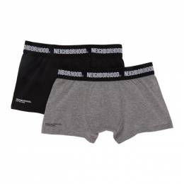 Neighborhood Two-Pack Black and Grey Logo Boxer Briefs 201TMNH-UWM03