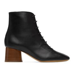 Mansur Gavriel Black Leather Lace-Up Boots WP20F003KQ