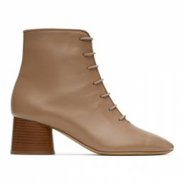 Mansur Gavriel Taupe Leather Lace-Up Boots WP20F003KQ